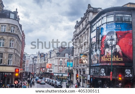 LONDON - APRIL 13, 2016: Outside view of Queen's Theatre, West End theatre, located on Shaftesbury Avenue, City of Westminster, since 1907, designed by W.G.R. Sprague.