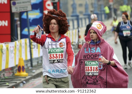 LONDON - APRIL 23: Participants in the London Marathon wearing funny costume on April, 23, 2006 in London, UK.  London Marathon is next to New York, Berlin, Chicago and Boston the World Marathon Majors
