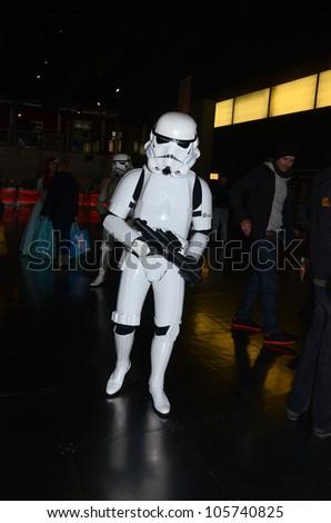 LONDON - APRIL 29: People attending the Sci Fi London Parade London April 29th, 2012 in London, England. - stock photo