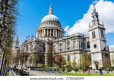 LONDON - APRIL 11: Saint Paul's cathedral on April 11, 2015 in London, UK. It's an Anglican cathedral, the seat of the Bishop of London and the mother church of the Diocese of London.  - stock photo