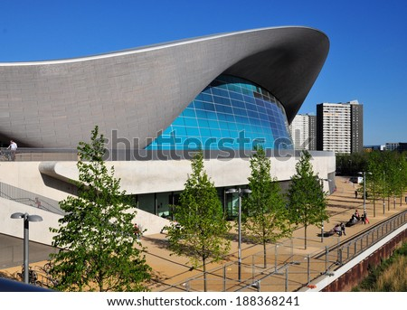 LONDON - APRIL 16. The Aquatics Centre at the new Queen Elizabeth Olympic Park on April 16, 2014, designed by Zaha Hadid Architects, now open to the public at Stratford, London. - stock photo