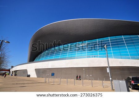 LONDON - APRIL 18. 2015. The Aquatics Centre, designed by Zaha Hadid Architects is a public swimming facility located by the Waterworks River at Stratford in the Borough of Newham, east London, UK.