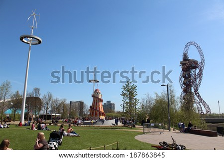 LONDON - APRIL 5. The Aquatics Centre, Helter Skelter and Orbit at the new Queen Elizabeth Olympic Park on April 5, 2014,  opening day of the new public area in Stratford, London, UK. - stock photo