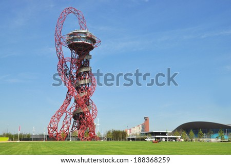 LONDON - APRIL 16. The ArcelorMittal Orbit at the new Queen Elizabeth Olympic Park on April 16, 2014, the symbolic legacy of the games designed by Sir Anish Kapoor and Cecil Balmond in London. - stock photo
