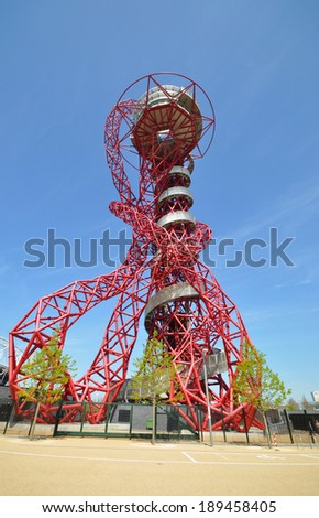 LONDON - APRIL 16. The ArcelorMittal Orbit at the new Queen Elizabeth Olympic Park on April 16, 2014, a symbolic legacy of the games designed by Anish Kapoor and Cecil Balmond in Stratford, London. - stock photo