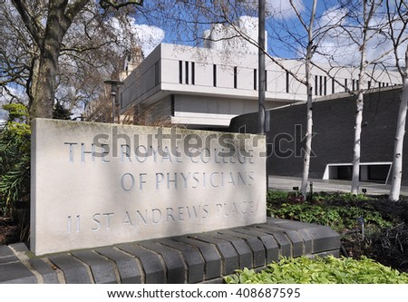 LONDON - APRIL 17, 2016. The headquarters of the Royal College of Physicians, designed by Denys Lasdun, completed in 1964 and now Grade 1 listed at Regents Park, London, UK. - stock photo