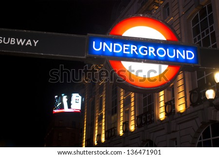 LONDON - APRIL 18 : The London Underground is the oldest underground railway in the world covering 402 km of tracks .Sign of Underground on April 18, 2013 in London. - stock photo