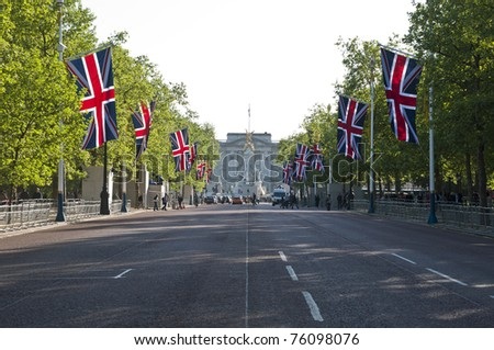 LONDON - APRIL 27: The Mall decorated with union flags for Prince William and Catherine Middleton's royal wedding celebration to take place April 29. April 27, 2011 in London, England. - stock photo