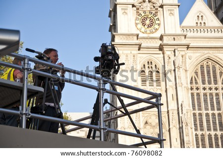 LONDON - APRIL 27: The media present at Westminster Abbey for Prince William and Catherine Middleton's royal wedding celebration to take place April 29. April 27, 2011 in London, England. - stock photo