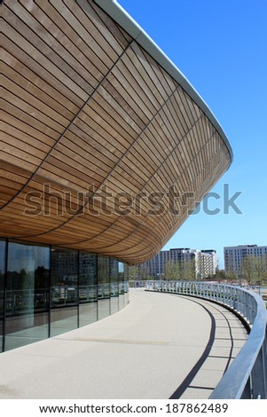 LONDON - APRIL 5. The new Queen Elizabeth Olympic Park on April 5, 2014, the opening day of the landscaped public area with the VeloPark cycling arena, in Stratford, London, UK.