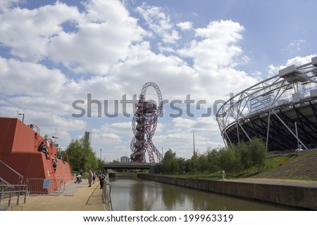 LONDON - APRIL 5. The Orbit and Stadium at the new Queen Elizabeth Olympic Park on April 5, 2014, opening day of the new public area in Stratford, London, UK. - stock photo