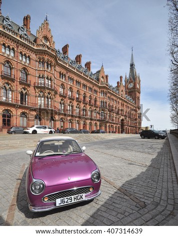 LONDON � APRIL 10. 2016. The restored 1868 St Pancras International railway station and hotel, designed by Sir George Gilbert Scott, now the terminus for Eurostar services to Europe, in London, UK - stock photo