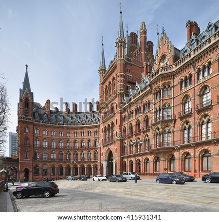 LONDON - APRIL 10, 2016. The restored 1868 St Pancras International railway station and hotel, designed by Sir George Gilbert Scott, now the terminus for Eurostar services to Europe, in London, UK - stock photo