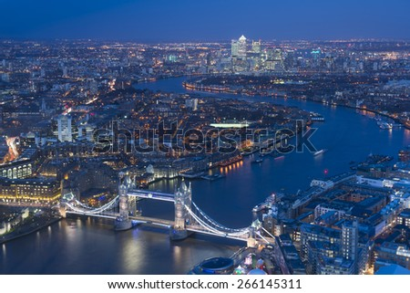 London at night ,aerial view with Tower Bridge, UK