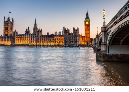 London at night: Houses of Parliament and Big Ben - stock photo