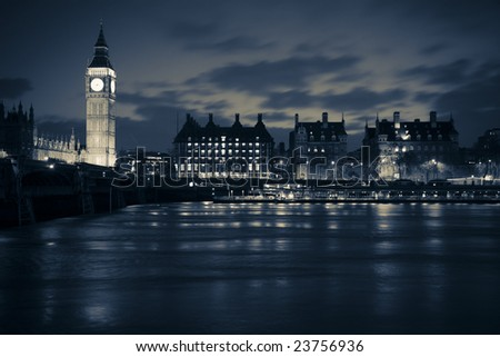 London at night in dramatic black and white - stock photo