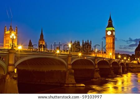 London at night, UK - stock photo