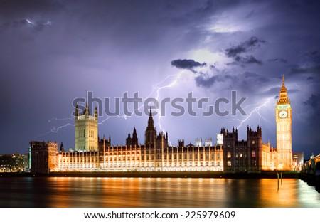 London at strom - stock photo