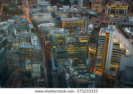 London at sunset, aerial view  - stock photo