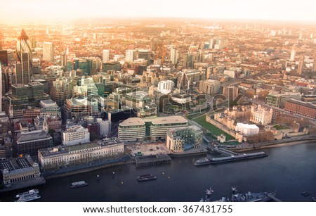 London at sunset. Panorama includes River Thames, bridges and City of London business and financial aria - stock photo