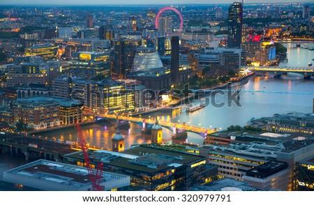 London at sunset, panoramic view - stock photo