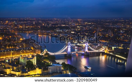 London at sunset, panoramic view with Tower bridge