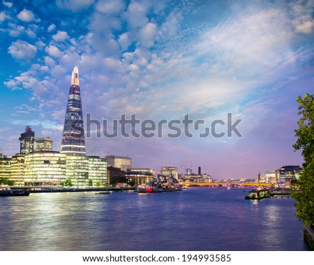 London at sunset. River Thames and city buildings. - stock photo