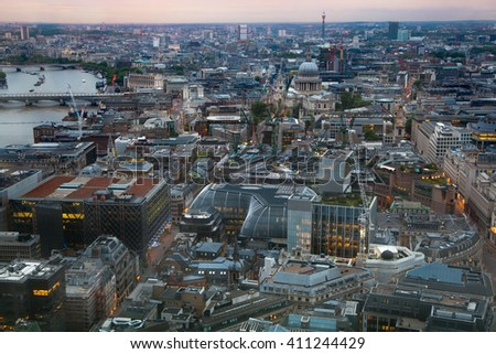 London at sunset. River Thames, bridges and night lights City of London - stock photo
