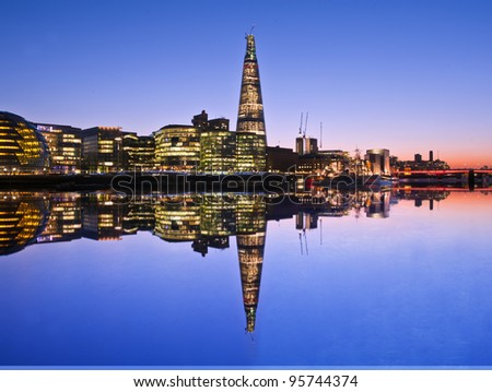 London at twilight and at the nice sky view. - stock photo