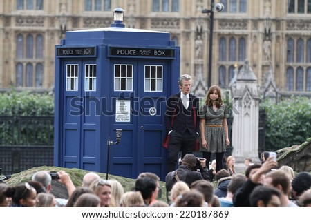 LONDON - AUG 22: Jenna Coleman promoting the new BBC series of 'Dr Who' in Parliament Square on 22, Aug, 2014 in London  - stock photo