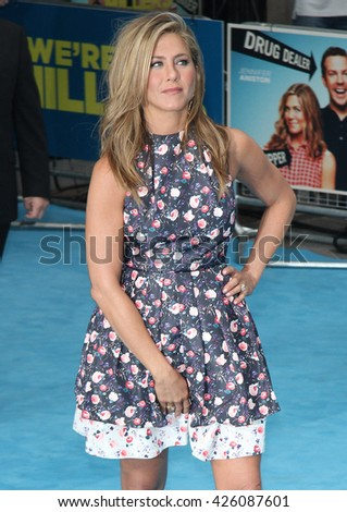 LONDON - AUG 14, 2013: Jennifer Aniston attends We're The Millers - European Premiere - at Odeon West End on Aug 14, 2013 in London - stock photo