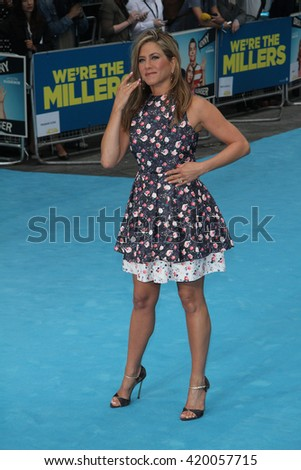 LONDON - AUG 14, 2013: Jennifer Aniston attends We're The Millers - European Premiere on Aug 14, 2013 in London - stock photo