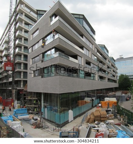 LONDON- 10 AUG: Londons latest luxury apartments, near completion, at tower bridge road, within walking distance of the financial centre of london, 10 aug, 2015