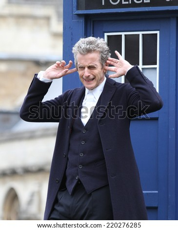 LONDON - AUG 22: Peter Capaldi promoting the new BBC series of 'Dr Who' in Parliament Square on 22, Aug, 2014 in London  - stock photo