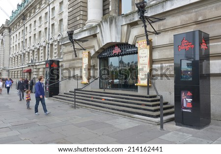 LONDON - AUG 30, 2014: The London Dungeon is a tourist attraction which recreates gory and horrific events that took place in London's past, first opened in 1974. - stock photo