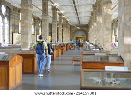 LONDON - AUG 30, 2014: The Minerals gallery of the Natural History Museum in London, the Minerals gallery retains the original architecture from 1881. - stock photo