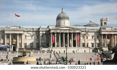 LONDON - AUG 19 :Trafalgar Square, City of Westminster, public space, on Aug 19, 2010 in London, UK. As one of the most popular tourist attraction have more than fifteen million visitors a year.   - stock photo
