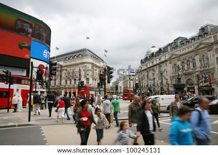 LONDON - AUG 12: View of Piccadilly Circus, road junction, built in 1819, famous tourist attraction, links to West End, Regent Street, Haymarket, Leicester Square, on Aug 12, 2010 in London, UK. - stock photo