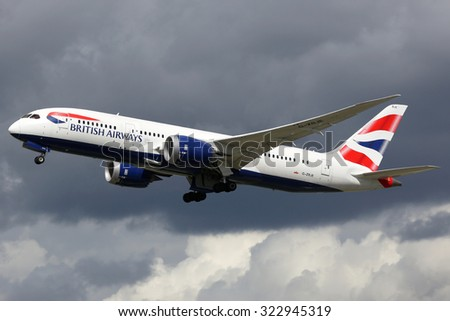 LONDON - AUGUST 28: A British Airways Boeing 787 taking off on August 28, 2015 in London. British Airways is the flag carrier airline of the United Kingdom based at London Heathrow airport. - stock photo