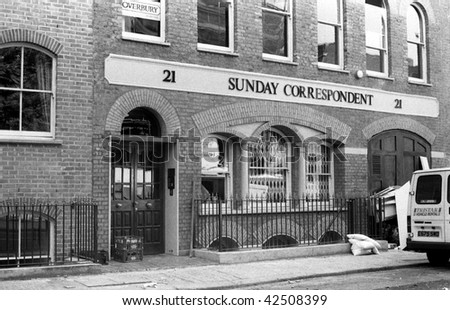 LONDON - AUGUST 5: Headquarters of the Sunday Correspondent newspaper in Clerkenwell on August 5, 1989 in London. The paper closed in 1990.