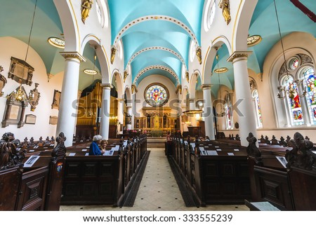 LONDON - AUGUST 04: Interior of St Michael's Cornhill Church on August 04, 2015 in London, UK.