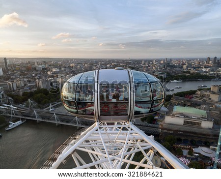 LONDON - 2015 AUGUST 5 : Panoramic view of London from London Eye.