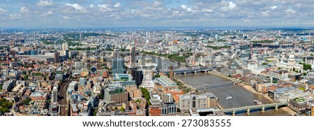 LONDON -AUGUST 13: River Thames  panorama on August 13, 2014 in London. Panaroma view from top of the Shard Tower, the tallest building in the European Union. - stock photo
