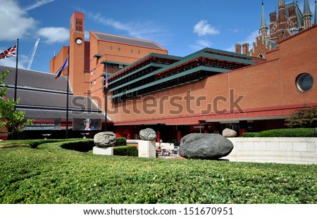LONDON - AUGUST 4. The British Library holds 150 million books, manuscripts, philatic and cartographic items, music scores and recordings; August 4, 2013, in London, UK.  - stock photo
