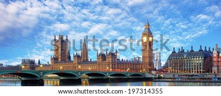 London - Big ben and houses of parliament, UK - stock photo