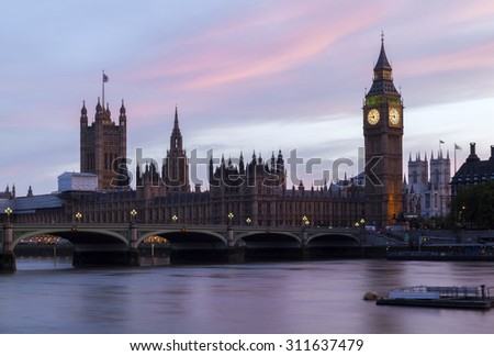 London Big Ben and Thames River panorama - stock photo