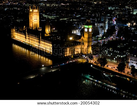 London Big Ben at night - stock photo