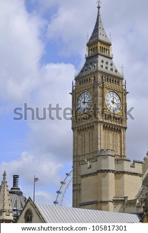 London Big Ben over blue sky as background. - stock photo