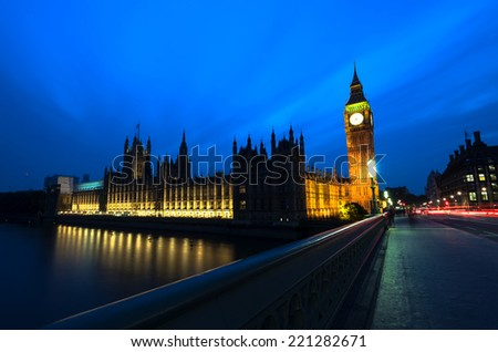 London bigben and westminster building at night - stock photo