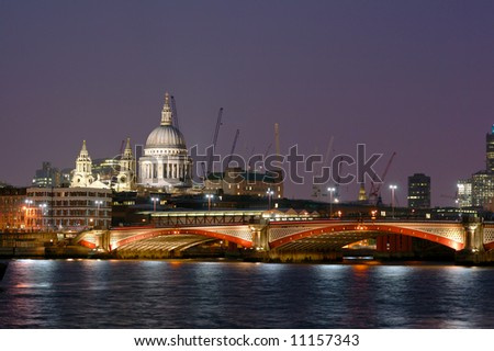 London Blackfriars Bridge with St. Paul's Cathedral on the left-hand side